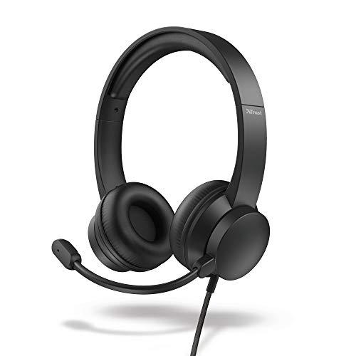 Trust Roha Cuffie Professionali On-Ear USB con Microfono, Confortevole Morbidi Padiglioni in Similpelle, Cavo di 1,8 Metri, per PC Computer Notebook