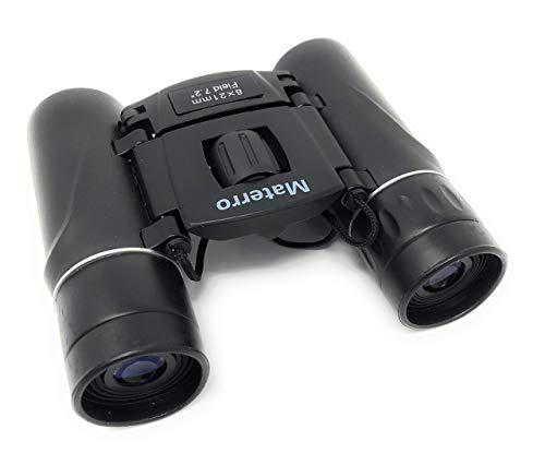 Materro High-Powered 8x21 Compact Binoculars for Adults and Kids, Waterproof, Durable, Folds to Fit in Your Pocket