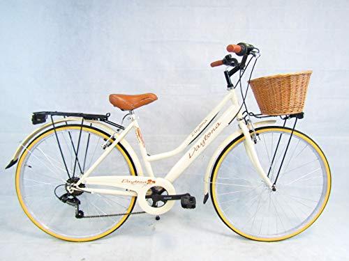 Daytona Bicicletta Donna Bici City Bike da Passeggio Vintage Retro' Beige Cesto Vimini
