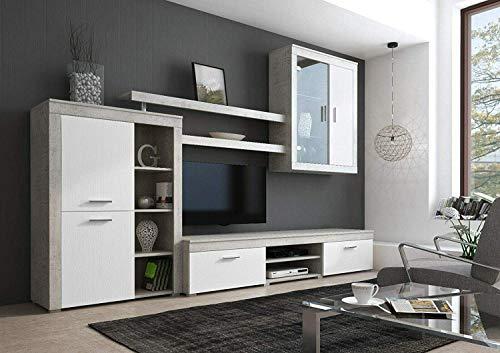 Bricozone Besko Parete Attrezzata Soggiorno Mobile TV con Vani E Mensole Legno Base Televisione Salotto Sala da Pranzo Design Moderno 293 x 50 x 193 cm Colore Bianco e Grigio Cemento