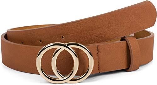 styleBREAKER Cinturón de dama unicolor con hebilla de anillo, cinturón de cadera, cinturón de cintura, cinturón sintético, unicolor 03010093, tamaño:90cm, color:Coñac-oro