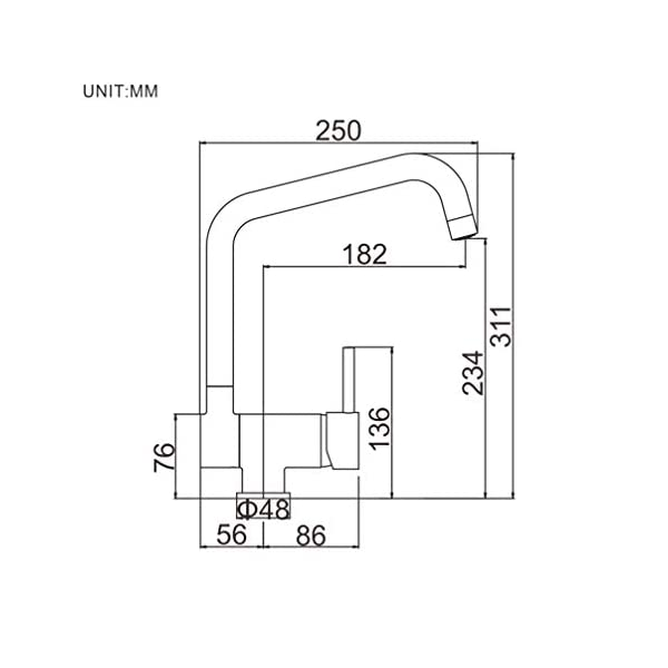 Ibergrif M22106 Grifo de Cocina Abatible, Griferia para Fregadero Monomando, Cromo/Plata