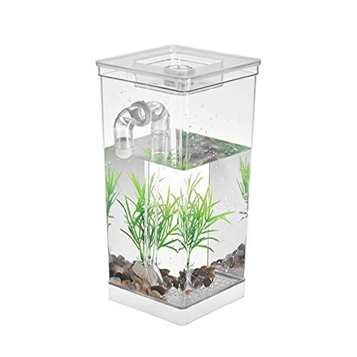 SSMDYLYM Acrylic Bureau Aquarium Tank Tank Auto Nettoyage Petit Poisson Réservoir de Poisson Bol Profiante Bureau Accueil Décor Cadeau Aquarium Accessoires
