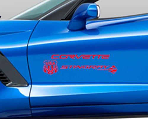 Corvette Stingray USA Flag & Emblem Vinyl Graphics 20' Decal, Fits All Corvette C2 C3 C4 C5 C6 C7) - - Red