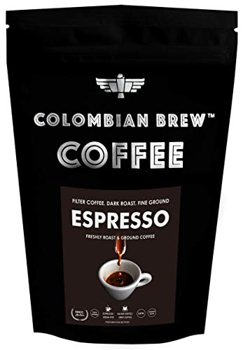 Colombian Brew Coffee Arabica Espresso Filter Coffee, Roast & Ground Strong, 250g