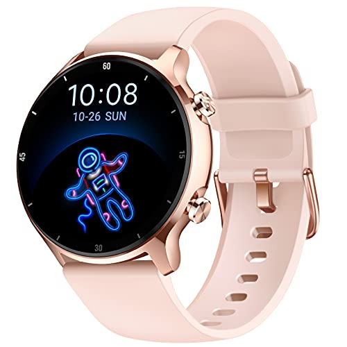 Letsfit EW4 Smart Watch, 1.28 Inch Touch Screen Smartwatch for Android Phones Compatible with iPhone, Blood Oxygen Saturation, Heart Rate Monitor, 5ATM Waterproof Fitness Tracker for Men Women Pink