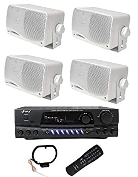 PYLE PLMR24 3.5  200W Outdoor Speakers 4 Pack with 100 Watt RMS Power 4 Ohm impedance and PT260A 200W Stereo Theater Receiver 110V with 3 RCA inputs