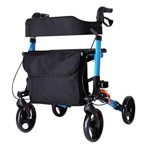 KOSHSH Leichtgewichtiger Aluminium-Falt rollator, 2-in-1 Einkaufswett-und Transit-Stuhl mit Höhe für den Außenbereich geeignet