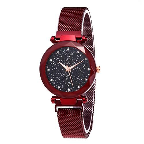 Bearcolo Damen-Armbanduhr, wasserdicht, mit Stern-Zifferblatt, analoge Kristall-Quarz-Uhr mit magnetischer Schnalle, luxuriöse Damenuhr, rot, 37 mm