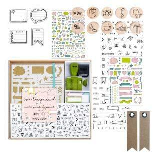 Kit Bullet Journal + tamponi + Stencil + Adesivi + 20 Etichette Kraft con gagliardetto