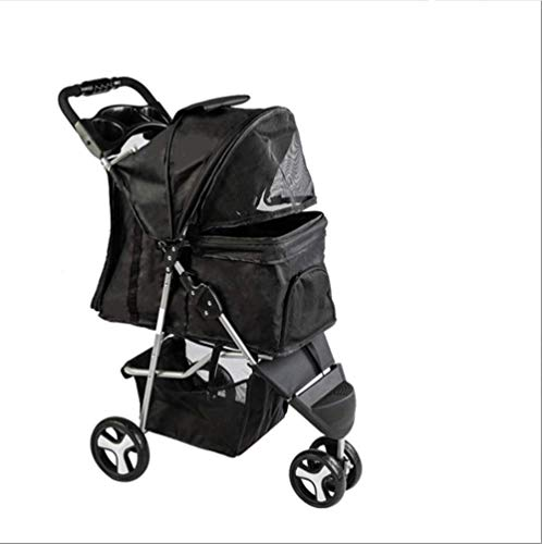 Pet Stroller for Cats Dogs 3 Wheel Dog Stroller with Removable Liner Storage Basket and Cup Holder...