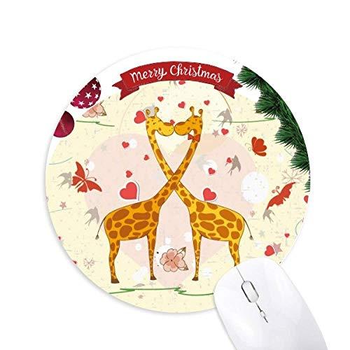 Yellow Kissing Giraffen Valentinstag Round Rubber Maus Pad Weihnachtsbaum Mat