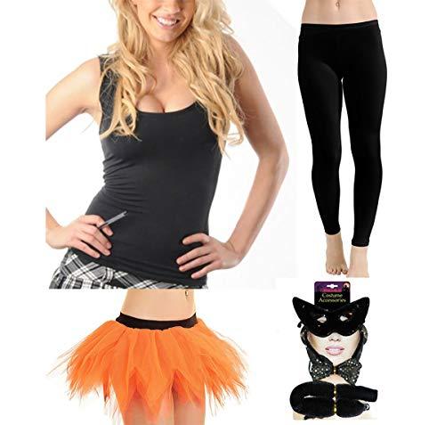 FashioN HuB Disfraz de gato para mujer, leggings de tut, falda y chaleco sexy para gato, talla pequea/mediana