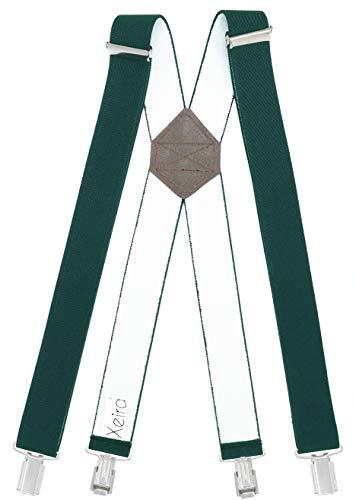 Xeira Bretelle X-shape uomo e donna con 4 clip forti e retro in vera pelle - Fatto in Germania (Standard - 110cm, verde scuro)