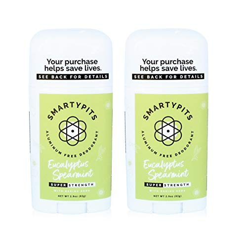SmartyPits -2 Pack Natural/Aluminum-Free Deodorant (with baking soda) Paraben Free, Phthalate Free, PROPYLENE GLYCOL FREE, Not Tested on Animals | 2.9oz (Eucalyptus Spearmint)