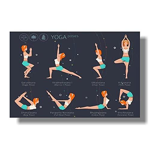 LIUYUEKAI Asanas de yoga para entrenamiento de cuerpo completo lienzo arte de pared impreso póster e imágenes para decoración de sala de estar-40x50cm sin marco