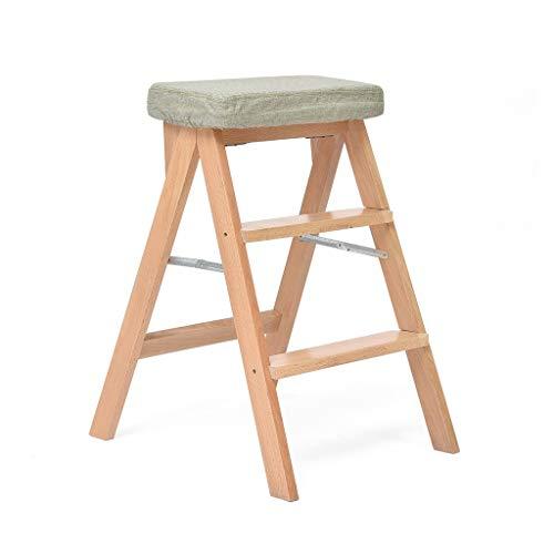 Massief houten kruk, sponskussen, keukenkruk inklapbare hoge stoel, multifunctionele 3-traps staande ladder, hoge stoel, kruk voor volwassenen, voor thuis en als sprankel B