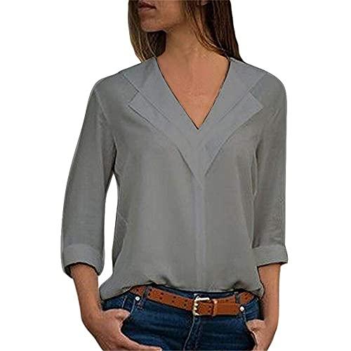 Camisetas Mujer Temperamento Elegante Color Sólido Primavera Verano Cuello V Mujer T-Shirts Exquisitos Collaríns Manga Larga Diseño Ocio Diario Conmutar All-Match Mujer Tops C-Gray L
