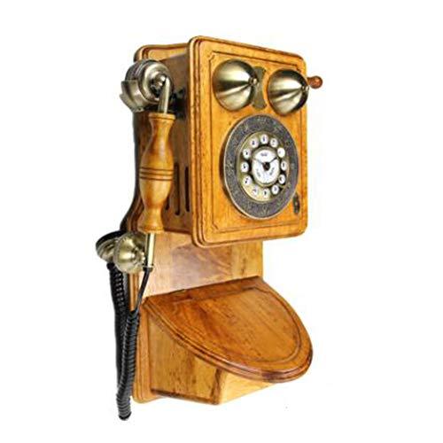 LIUNA Teléfono Montado En La Pared Teléfono Retro Teléfono Fijo Antiguo Villa De Madera Maciza Pura Exclusivo Estilo Europeo Clásico Mediterráneo Europa Y América Teléfono Antiguo(Color:A)