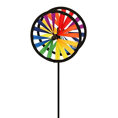 CIM Windspiel - Magic Wheel Twin 16 - UV-beständig und wetterfest - Windräder: 2xØ16cm, Höhe: 53cm - inkl. Fiberglasstab - Vielseitige Haus und Gartendekoration