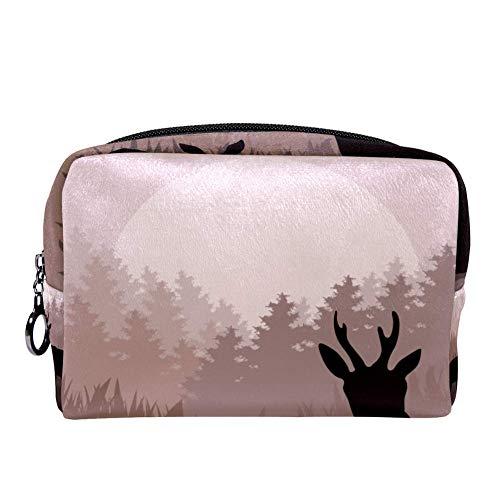 TIZORAX Animated Rain Deer Family In Wild Night Forest make-up tas toilettas voor vrouwen huidverzorging cosmetische handige zak Rits Handtas