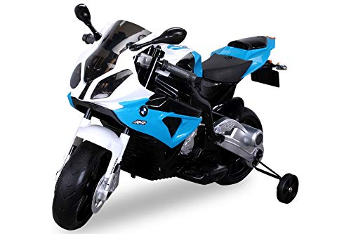 Actionbikes Motors Kinder Elektromotorrad BMW S 1000 RR JT528 - Lizenziert - 70 Watt - Bremsautomatik - Stützräder - Für Kinder ab 3 Jahre (Blau)