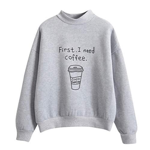 KIMODO Pullover Damen Langarm lose Kawaii Kaffeetasse Muster Gedruckt Sweatshirt Rundhals warme Winter Plus Samt Tumblr Bluse Sweater Korean Fashion Oberteile Tops