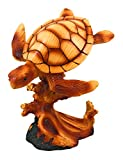 "Yellow Moon Gifts Wooden Turtle Hand-Carved Sculpture 7"" Figurine Ocean Marine Decor"