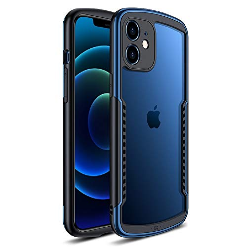 KMXDD Shockproof Case Compatible with iPhone 12 Pro Max Built-in Camera Lens Protector, Clear Matte Hard Back with Soft Frame Cooling Hole Slim Ultra Thin Cover (iPhone12ProMax, Blue)
