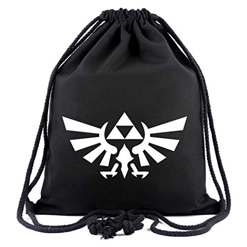 WANHONGYUE The Legend of Zelda Game Sporttasche Turnbeutel Training Tasche Gym Sack Drawstring Bag Schwarz-2