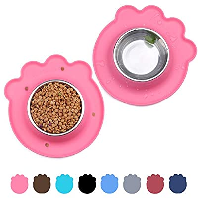 Vivaglory Puppy Bowl, 2 Pack Dog Food and Water Feeding Station with Spill Proof Mat, Small Cat Bowls, Pink