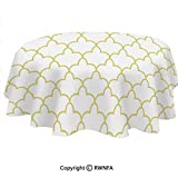 Spillproof Tablecloths for Oval Tables 64x102 Inch Persian Moroccan Orient Image in Oriental Wavy Shapes Art Indoor Outdoor Camping Picnic Table Cloth Golden and White