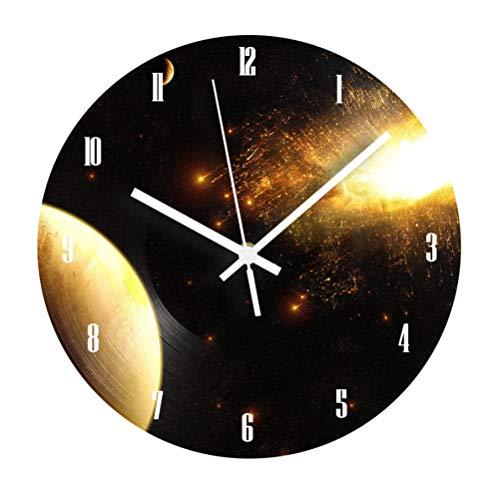 Wandklok Kosmische Melkweg Ruimte Wandklok Digitale Nummers Voor Kinderen Woonkamer Stomme Decoratie Retro Record Klok