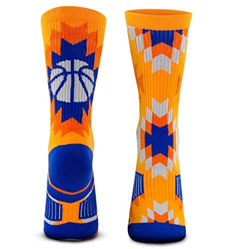Basketball Woven Mid-Calf Socks   Aztec   Navy & Orange