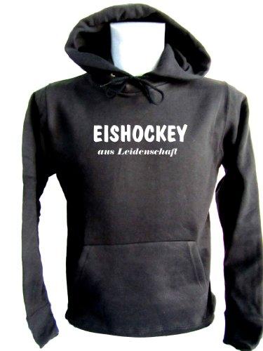 ShirtShop-Saar Eishockey aus Leidenschaft; Kapuzen-Pulli schwarz, Gr. S