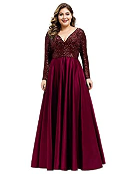 Women s Plus Size Sequin Dress Long Sleeve Evening Gown Prom Party Dress Burgundy US20