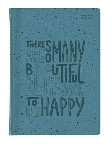 Ladytimer Grande Deluxe Turquoise 2021 - Taschen-Kalender A5 (15x21 cm) - Tucson Einband - Motivprägung Spruch - Weekly - 128 Seiten - Alpha Edition
