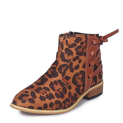 Schoenen-YRQ dames laarzen dikke hak ronde teen gesp suède laarzen enkel laarzen lente & herfst 43 A