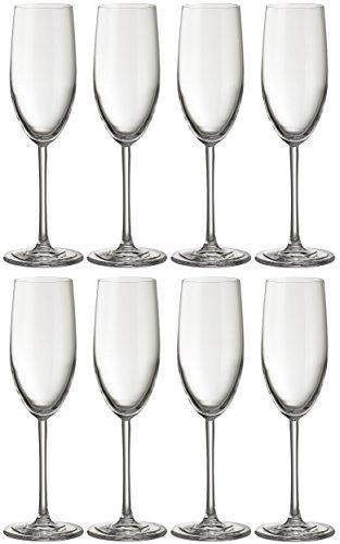 Flûte à champagne Jamie Oliver Waves 8 x 250 ml, haut et ultra contemporain, verre de Prosecco en cristal Lot de beaux verres à pied long et verrerie moderne pour des occasions spéciales