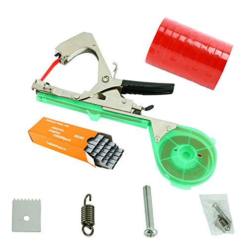 DasMarine Tying Machine for Plant and Garden Plant Tapetool Tapener With 10 Rolls Tape Set and 10000pcs Staples for Vegetable, Grape, Tomato,Cucumber, Pepper and Flower