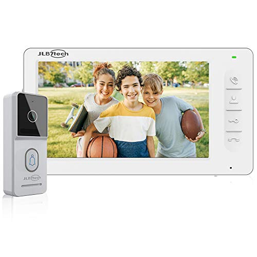 """JLB7Tech Video Doorbell Intercom System,4-Wire 7"""" LCD Touch Button Monitor and IR Night Version Doorbell Camera,Support Remote Unlock,Monitoring,Dual-Way Video Door Phone kit for Home Security"""
