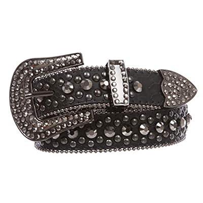 "Women's Western Cowgirl Alligator Rhinestone Studded Leather Belt, Hematite | s/m 30""-33"""