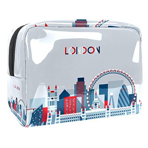 Bolsa de maquillaje portátil con cremallera, bolsa de aseo de viaje para mujeres, práctica bolsa de almacenamiento cosmético vintage de Londres Reino Unido bandera británica autobús