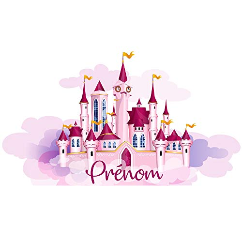 Tête de Lit Adhésive Chambre Enfant - Château de Princesse - Personnalisable avec Le Prénom De Votre Fille - Dimensions 56 cm x 1 m - Protection Anti-UV