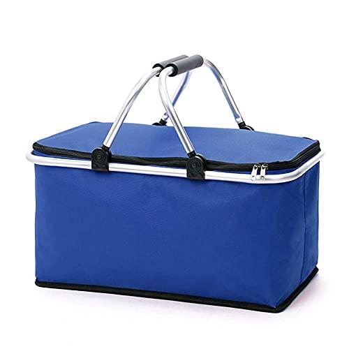 Cesta de la compra plegable con función de aislamiento, bolsa de la compra, camping o picnic | negro/rojo/azul | Cesta plegable | Cesta isotérmica | Bolsa de la compra | Color azul
