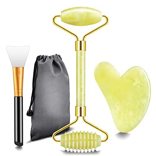 Rodillo de Jade Masajeador Facial, Gua Sha y Cepillo Mascarilla Facial, rodillo masaje, rodillo facial, natural real para regalo antienvejecimiento y rejuvenecimiento (amarillo)