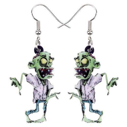 NOBRAND Pendientes De Mujer Pendientes De Zombie De Miedo De Dibujos Animados De Acrílico Drop Dangle Fashion Novelty Jewelry