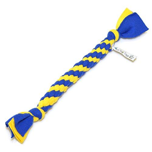 Best Tug Toys Handgemachtes Seil Hundespielzeug Reißen Vlies ca. 14 Zoll für Mittelgroßen Hund Hundeseil Geflochten Einfach Reinigen Reißfest sehr Stark blau&gelb