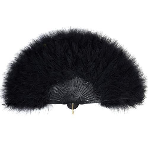 Coucoland 1920s waaier veer handwaaier voor dames vouwwaaier veer ventilator veer flapper accessoires Great Gatsby Party Zwart 1