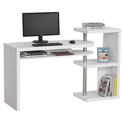 HOMCOM Eckschreibtisch, Computertisch, Schreibtisch, Winkelschreibtisch, Bürotisch mit Regal L-Form: 125 x 66,5 x 94 cm, I-Form:146 x 50 x 94 cm, Wabenplatte+Edelstahl, Weiß